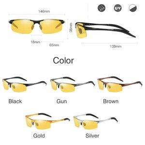 Image 5 - Aluminium Magnesium Meekleurende Zonnebril Heren Gepolariseerde Dag Nachtzicht Mannen Oculos Driver Geel Mannelijke Rijden Bril Gafas
