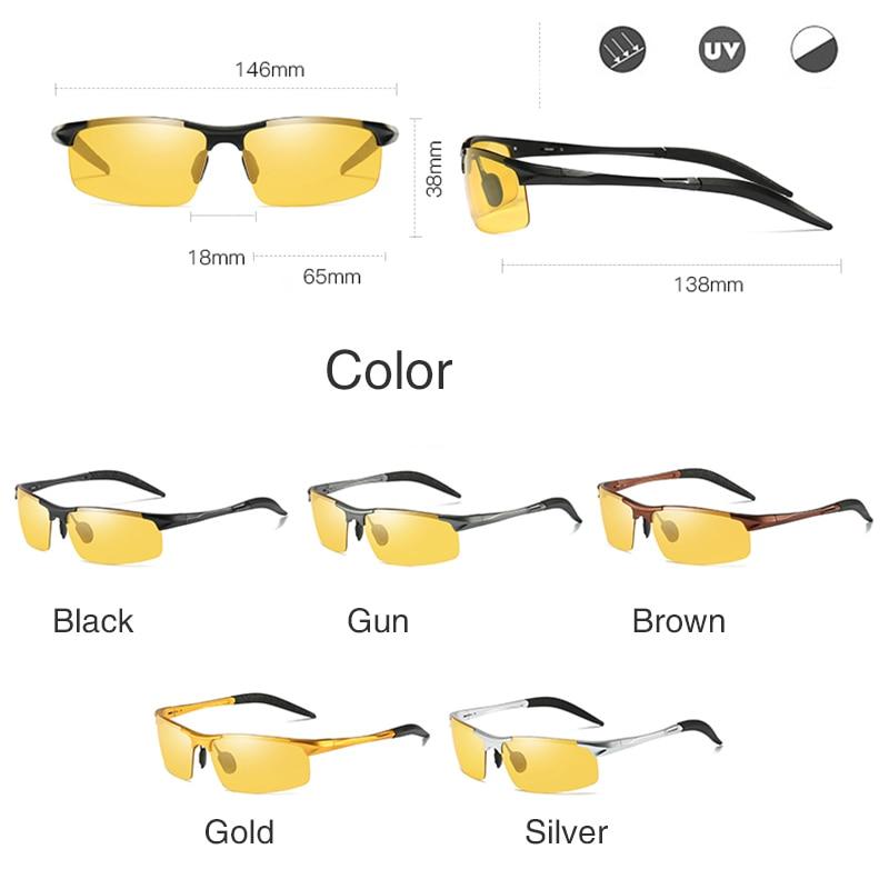 Image 5 - Aluminum Magnesium Photochromic Sunglasses mens Polarized Day Night Vision Men Oculos Driver Yellow male Driving Glasses gafasMens Sunglasses   -