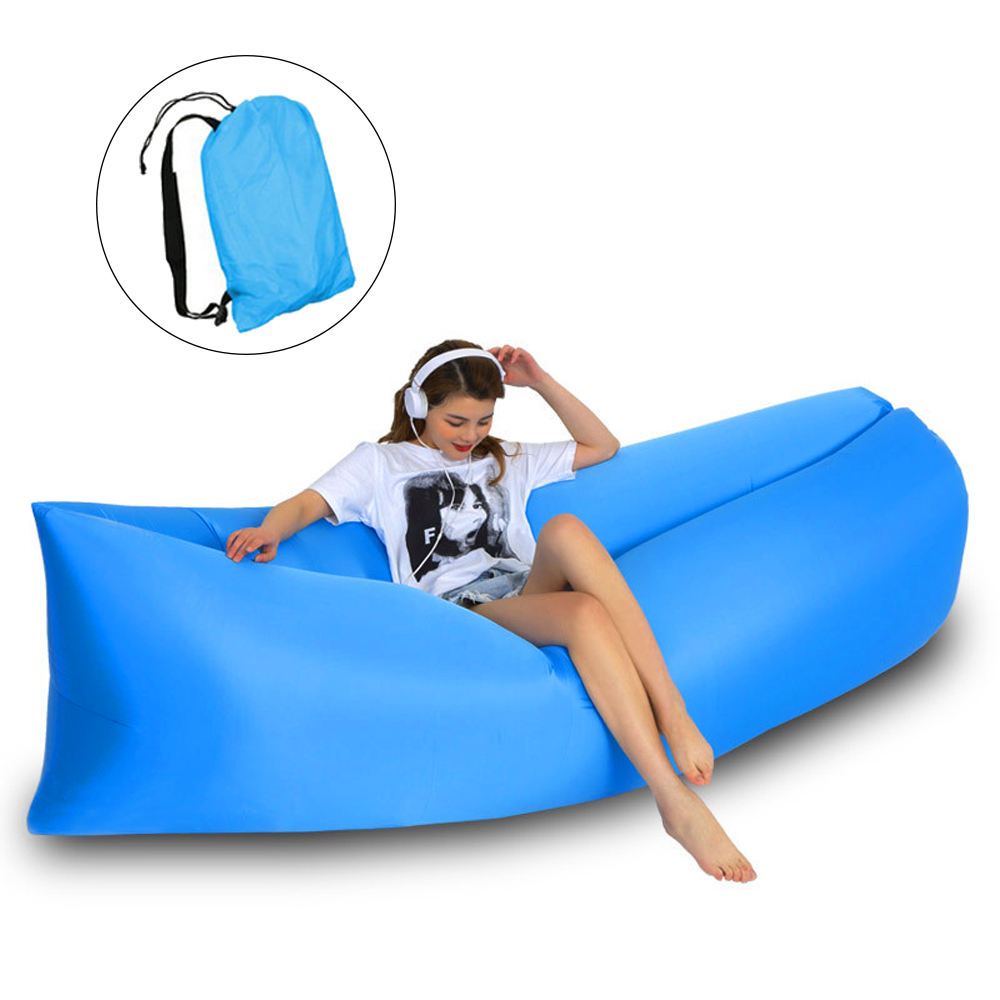 HooRu Inflatable Sofa Beach Camping Sleeping Air Sofa Lightweight Portable Folding Lazy Lounger Bed for Travel Picnic Outdoor