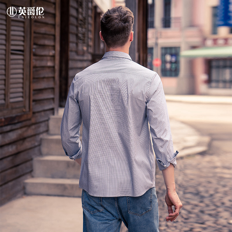 Enjeolon Long Sleeve Shirt Men's 2020 Autumn New Young Causal Fashion checked shirt CX2302 6