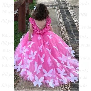 Kwiatowe sukienki dla dziewczynek tiul frezowanie Appliqued suknie na konkurs piękności dla dziewczynek pierwsza komunia sukienki dla dzieci suknie balowe tanie i dobre opinie FEIYANSHA Długość podłogi Suknia balowa SCOOP Bez rękawów Organza Łuk Zakładka LYQ201 Flower girl dresses REGULAR