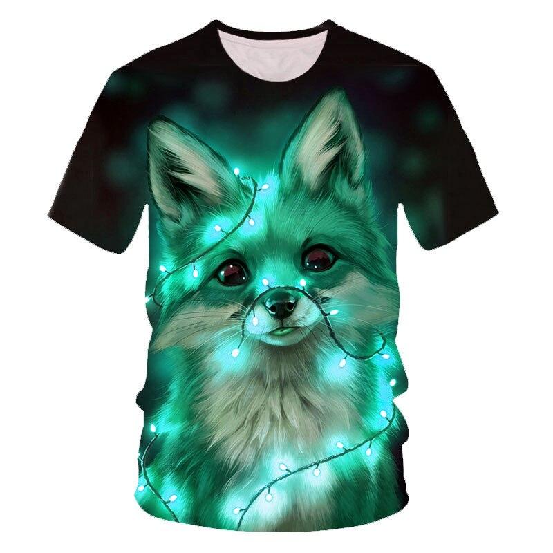 Colorful Fox 3D Printing Baby Boys Tee Shirt Leisure Crew Neck Breathable Fashion Boys Tshirts Artist 3D Print T Shirt Boys/girl