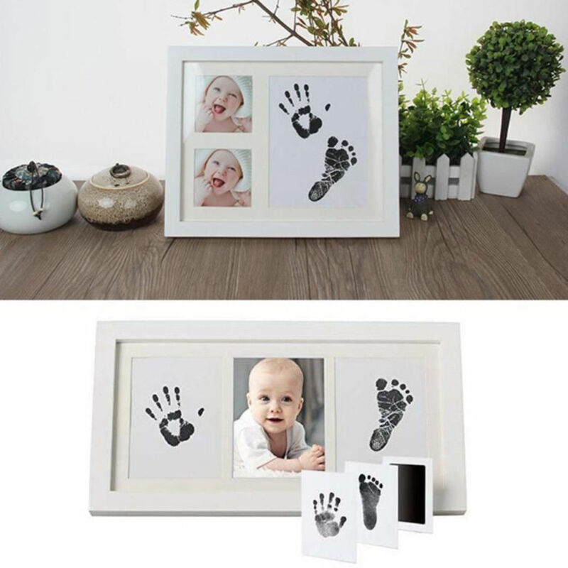 Newborn Footprint Handprint Baby Souvenir Paw Print Pad Photo Frame Pad Inkless Wipe Baby Kit-Hand Foot Print Keepsake