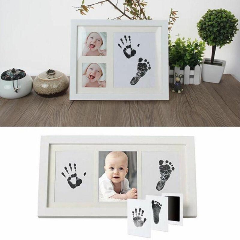 Newborn Footprint Handprint Baby Souvenir Paw Print Pad Photo Frame Pad Inkless Wipe Baby Kit-Hand Foot Print Keepsake