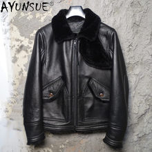 AYUNSUE Real Sheepskin Men Clothing 100% Cowhide Leather Jacket Mens Clothes Winter Coat Warm Jackets Chaqueta Hombre LXR517(China)