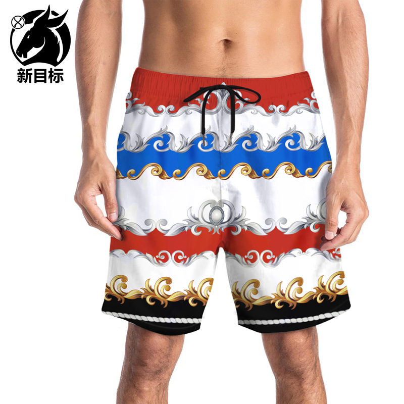 2019 Summer Europe And America Retro Decorative Pattern 3D Printed Beach Shorts Foreign Trade Hot Selling Lard-bucket Large Size