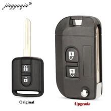Jingyuqin capa para chave remota de carro, flip, dobrável, capa para chave, para nissan, qashqai, primeira, micra, navara, almera, note, sunny 2 botões de botões