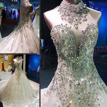 Fashion Crystal Wedding Dresses 2020 Luxury High Neck Beading Illusion Bridal Gowns Cathedral Train Custom Made