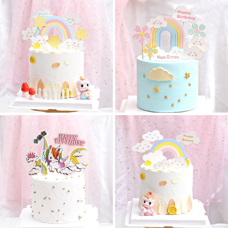Remarkable Rainbow Happy Birthday Cake Topper Unicorn Birthday Cake Topper Funny Birthday Cards Online Unhofree Goldxyz