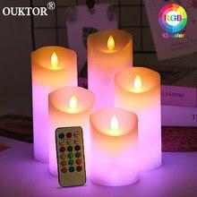 Controle remoto luzes de vela led com temporizador sem chama rgb vela luz da noite luzes de chá para casa casamento decoração de natal