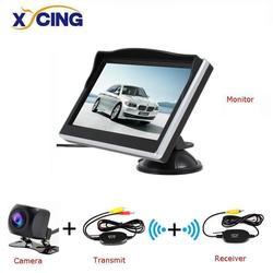 XYCING 5 Cal TFT wyświetlacz LCD 800*480 ekran hd Monitor samochodowy z kauczukowa próżnia uchwyt na kubek + kolor widok z tyłu samochodu kamera cofania