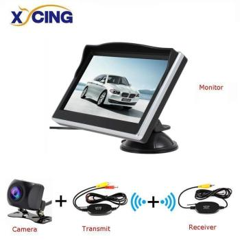 XYCING 5 Inch TFT LCD 800*480 HD Screen Car Monitor with Rubber Vacuum Cup Bracket+ Color Car Reverse Rear View Backup Camera image