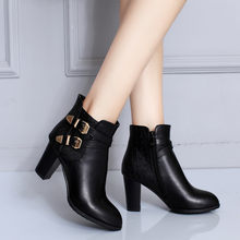 2018 Autumn Black Brown Cross Buckle Strap Block High Heels Ankle Boot Women Plus Size Shoes Motorcycle Ridding Boots(China)