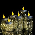 6 шт. в упаковке  солнечные лампочки Mason Jar с ручками для свечей и пламени  20 светодиодных гирлянд  сказочные светлячки  крышки  вставки для обы...