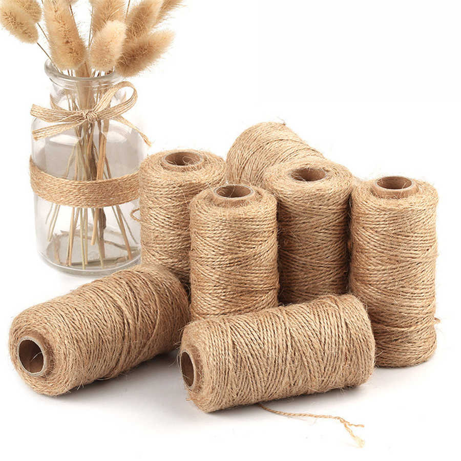 10M Natural Jute Twine Burlap String Hemp Rope Party Wedding Gift Christmas decoration DIY Scrapbooking Florists Craft Decor