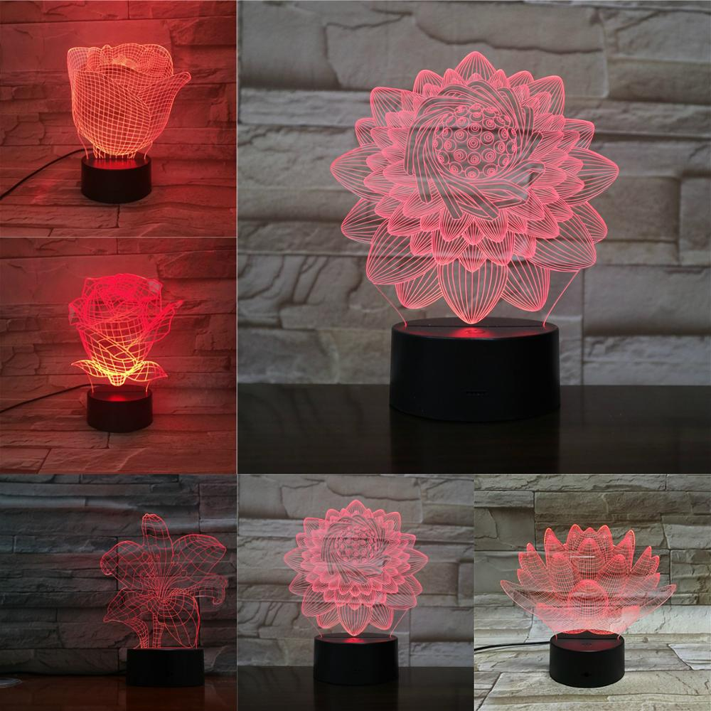 Beautiful Rose 3D Flower Lamp Acrylic Plate Touch Remote USB Luminaria 7 Colors Changing Night Light Girls Baby Birthday Present