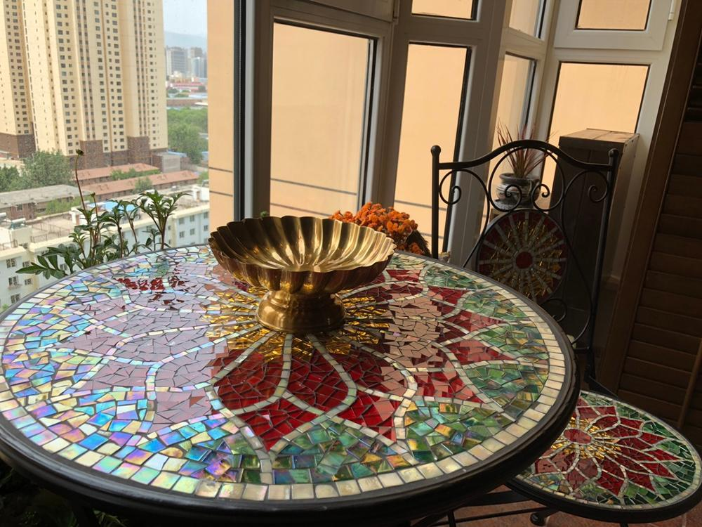 Big Sale¾Mosaic Table Cast-Iron Outdoor Courtyard Indoor-Use of Handicraft Desktop Gold Black