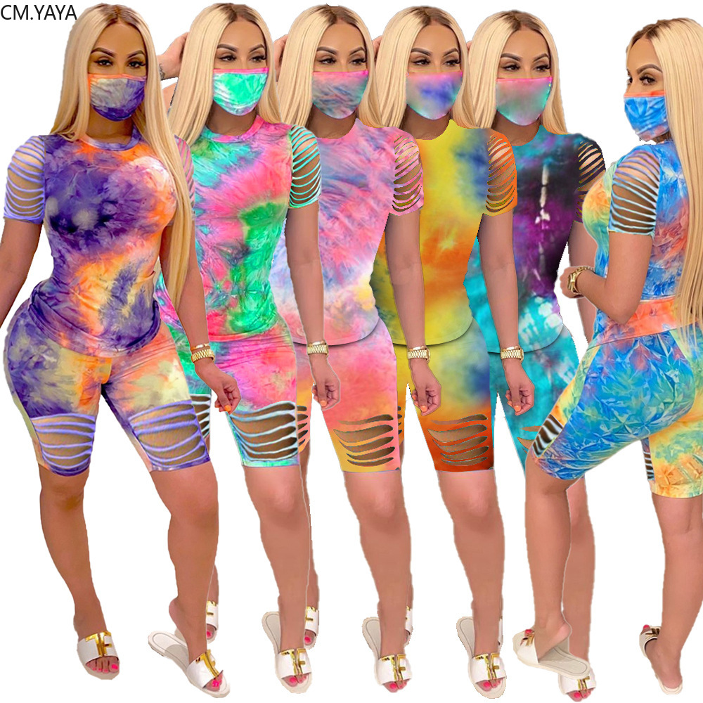 2020 sommer Frauen Zwei Stücke Setzt Trainingsanzüge Tie-dye Drucken Loch Tops Shorts Anzug Sportliche Fitness Nacht Club 2 pcs Outfit GL8206