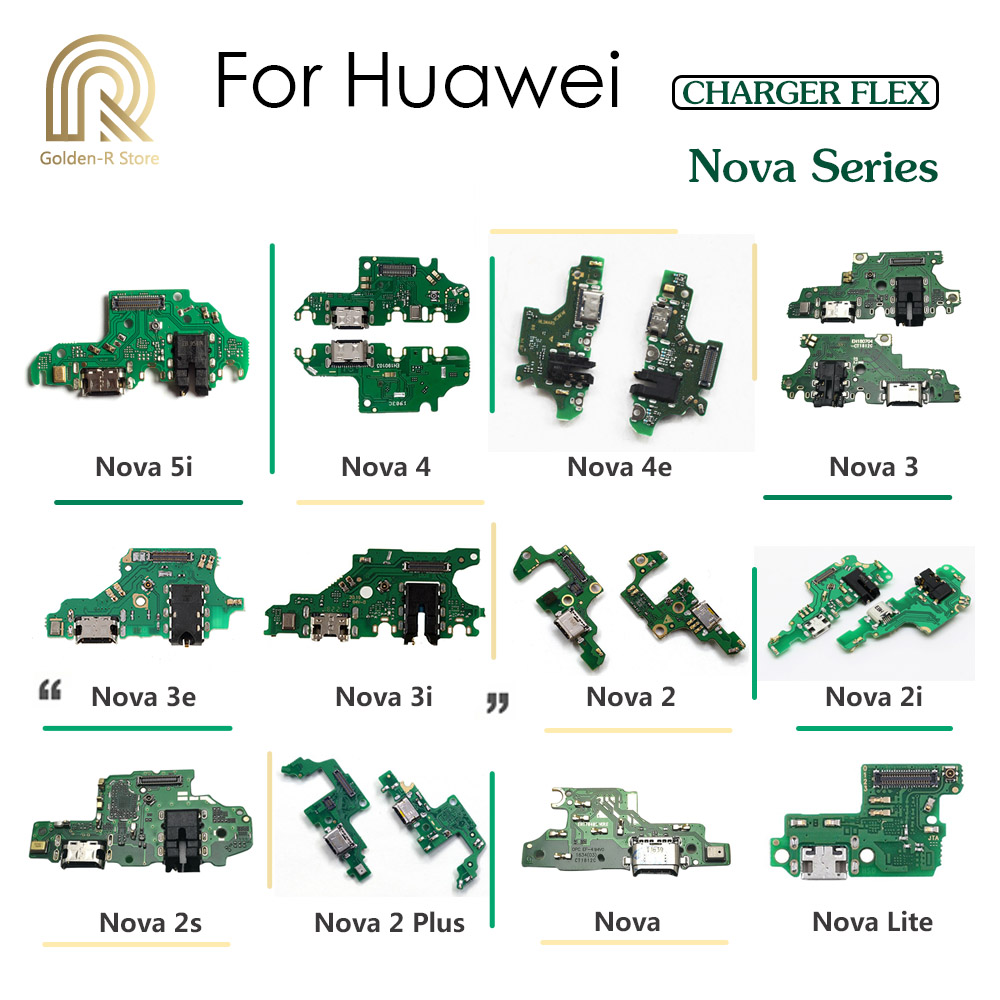 Golden-R Charging Port Connector Board Parts Flex Cable With Microphone Mic For HuaWei Nova 5i 4e 4 3 3i 3e 2 2S 2i Plus Lite