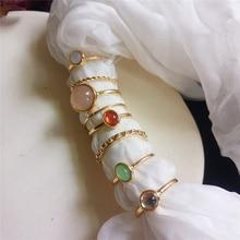 Loredana Summer Girl Party 8Pcs/Set Fairy Friends Colorful Stone Metalic Fashion Finger