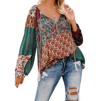 2019 Women Boho Floral Print Shirt Spring Autumn Thin Long Sleeve V-neck Loose Casual Vintage Plus Size Shirts Beach Female Tops 5xl oversize women blouses casual beach long sleeve v neck loose shirts plus size boho ladies top vintage print summer blusas