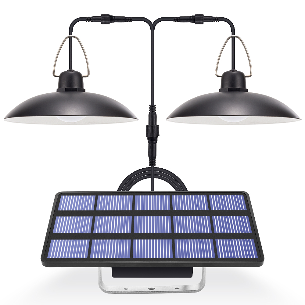 Solar Light LED Garden Lamp On Solar Batteries Double Head Pendant Light Solar Lamp With Cord For Outdoor Indoor Lighting