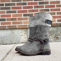 Women's Pu Leather Boots Belt Decoration Women's Low Heel Boots Retro Shoes Big Size Zip Long Boots Winter