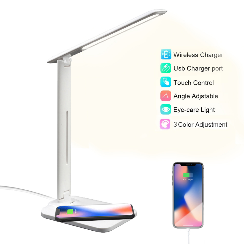 10W LED Desk Lamp with phone Wireless Charger, USB Charging Port, Dimmable Eye-Caring Office Lamp for Work, Folding Design