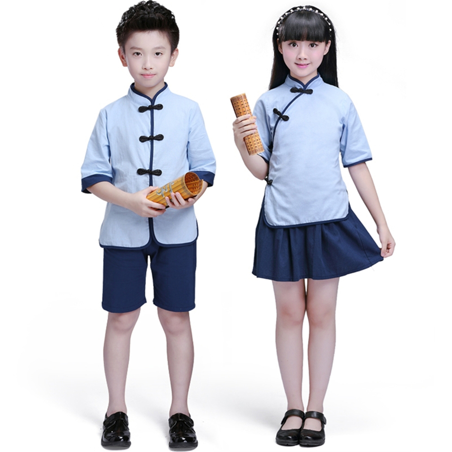 Children Chinese Clothing HanFu Boys Kung Fu Wushu Girls Chinese Cheongsam New Year Dress Kindergarten School Uniforms Kids Set