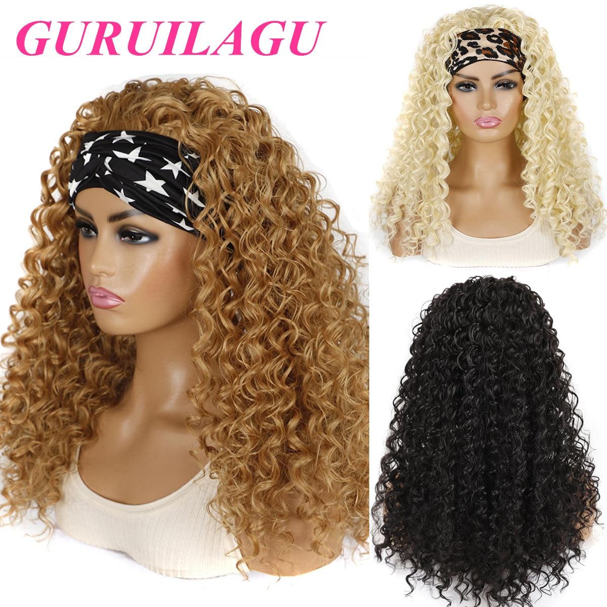 GURUILAGU глубокая волна парик с головной повязкой термостойкие волокна синтетические волосы парик черный/#613/#4/#27 блонд, парик из синтетических ...