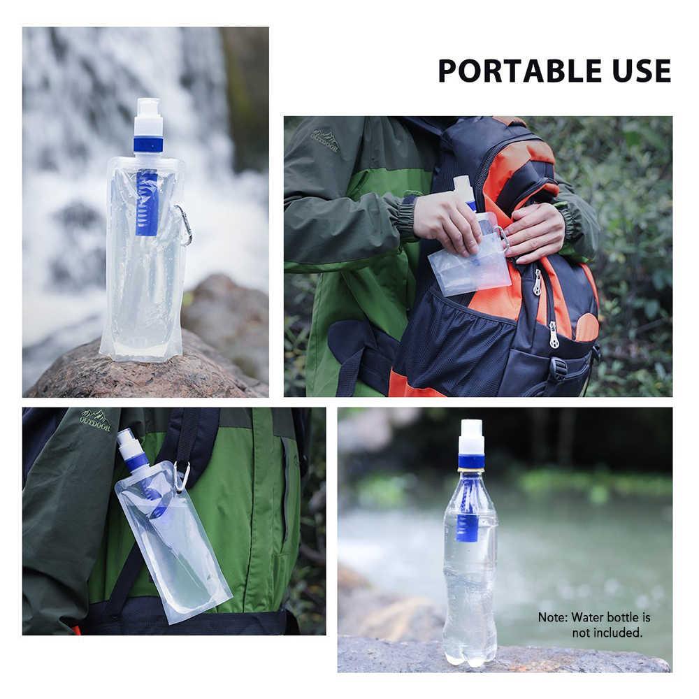 Bolsa de filtro de agua Flexible plegable botella para filtración de agua con mosquetón para supervivencia de emergencia al aire libre Camping senderismo