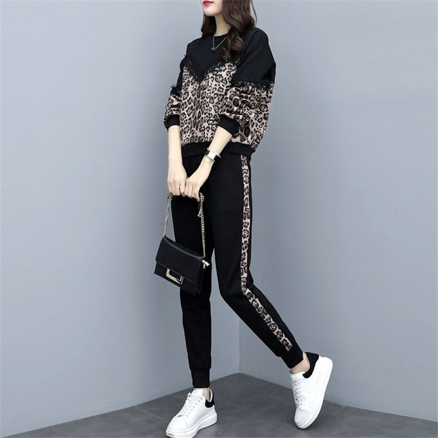tracksuit for women 2019 spring autumn female large size loose two-piece sets women's plus size tops +pants Casual suits 50