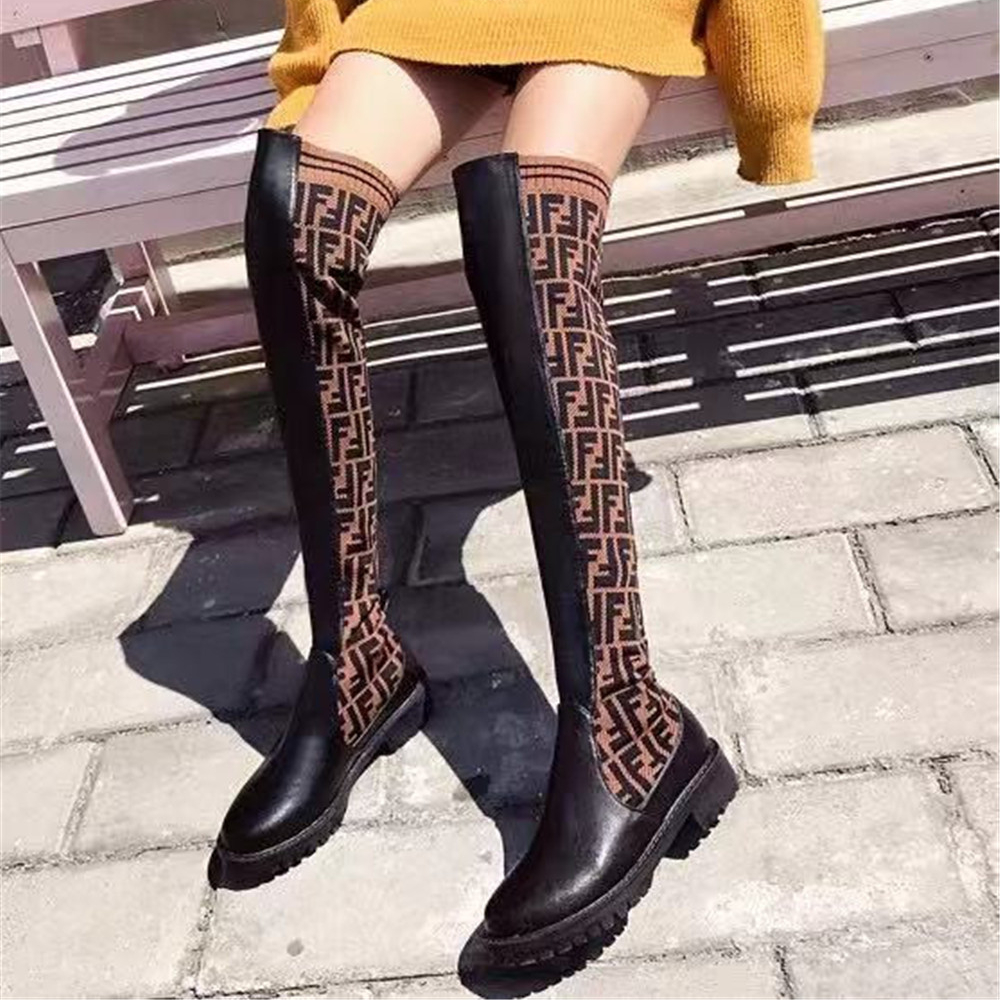 Women Over-The-Knee Elastic Boots Pu Leather Short Plush Slip On Square Heels Winter Ladies Motorcycle Shoes Size 34-48 Handmade