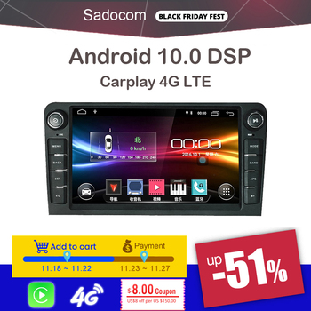 8 2 din Android 10.0 Car DVD player 8 Core 64GB ROM 4GB carplay autoradio car radio 4G LTE For Audi A3 2002-2010 2011 S3 RS3 RN image