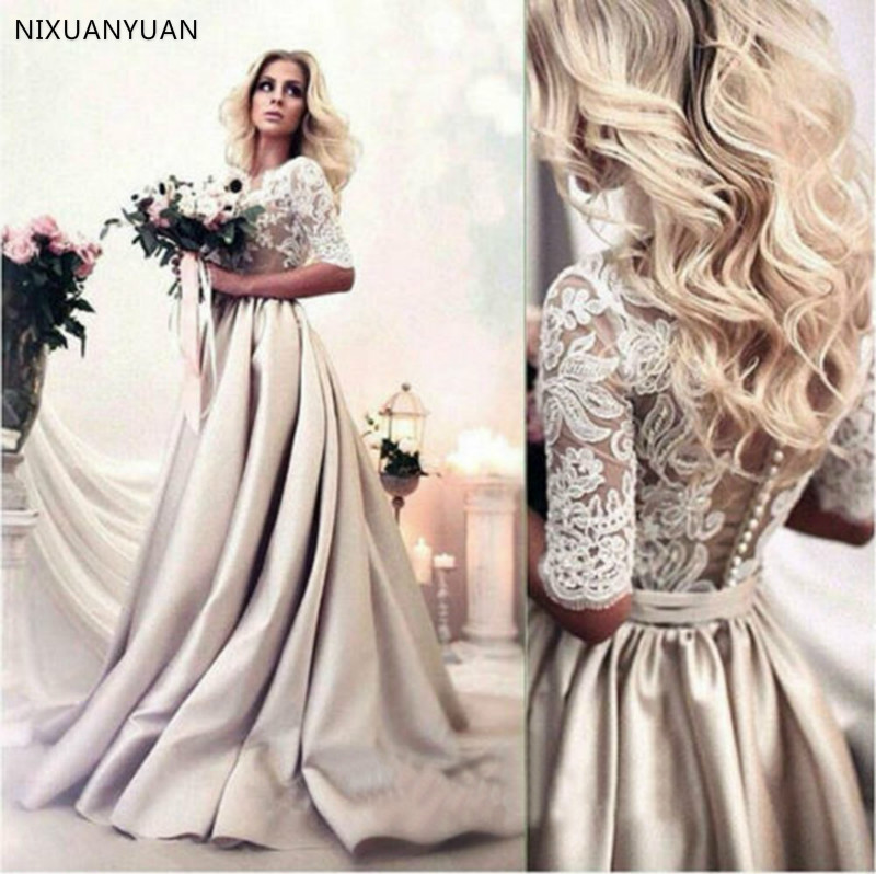 Lace Stain Wedding Dresses Lace Half Sleeve A Line Bridal Gowns Custom 2020 Plus Size Wedding Gowns
