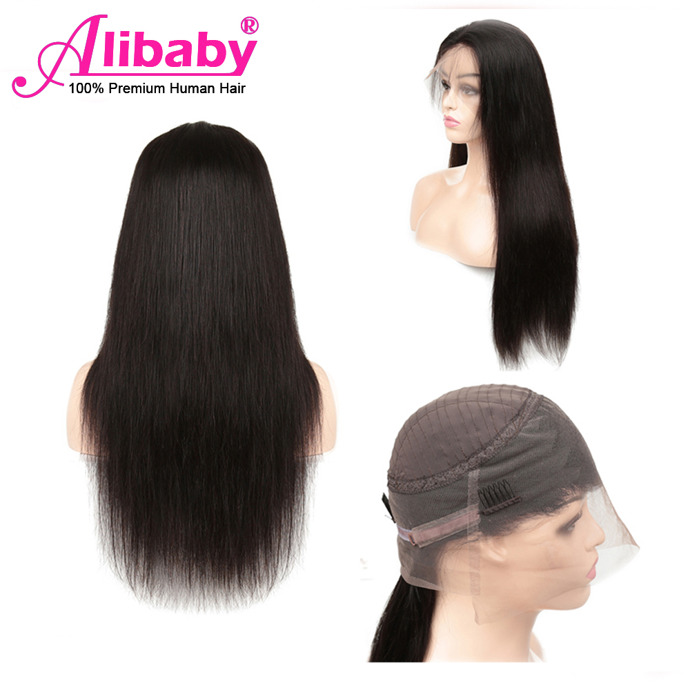 Alibaby Malaysian 360 Lace Frontal Wig Pre Plucked With Baby Hair Remy Straight Human Hair Wigs Natural Color Natural Hair Wigs