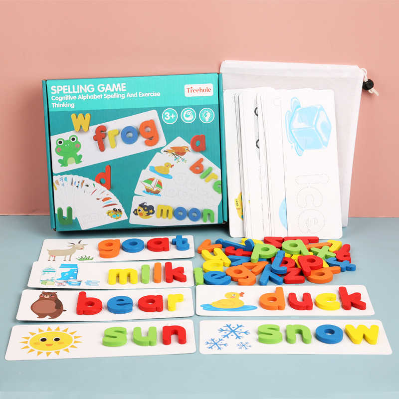 Wooden Cardboard English Spelling Alphabet Game Early Educational Toys USA