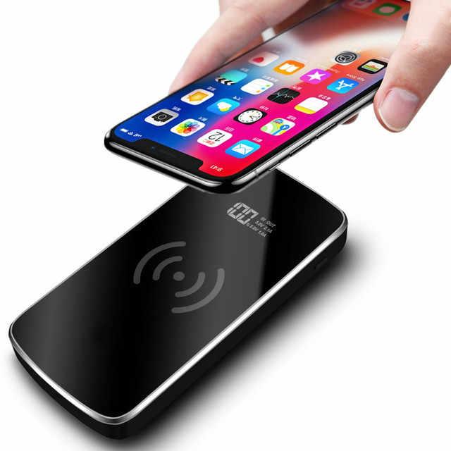 باور بانك Qi لاسلكي بسعة 30000 مللي أمبير في الساعة قابل للنقل مزود بمنفذ USB للشحن السريع لهاتف آيفون 8 X XS Max XR سامسونج S9 S8