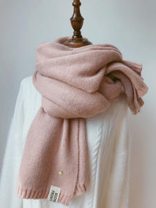 Soft Pashmina Wraps Shawls Cashmere-Scarves Long-Scarf Knitted Wool Warm Thicken Pink