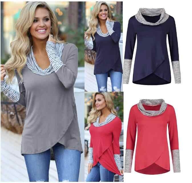 T 셔츠 여성 스트라이프 트림 하이 넥 라글란 긴 소매 티셔츠 겨울 봄 여성 티셔츠 셔츠 캐주얼 티셔츠