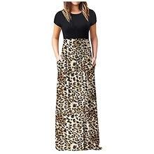 Mulheres maxi vestido feminino casual o pescoço gradiente impressão manga curta retalhos vestidos longos feminino vestido longo # g2