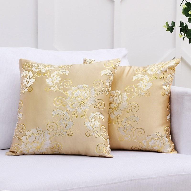 European Golden Royal Jacquard Cushion Luxury Throw almohadas almohada para sofá decorativa (2 unidades, 45cm * 45cm)