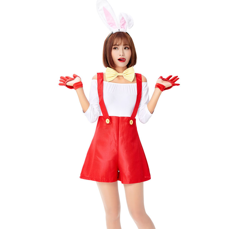 Women White Sexy Cute Suit Halloween Lingerie Costume Playboy Playmate Romper Cosplay Halloween Costume For Women