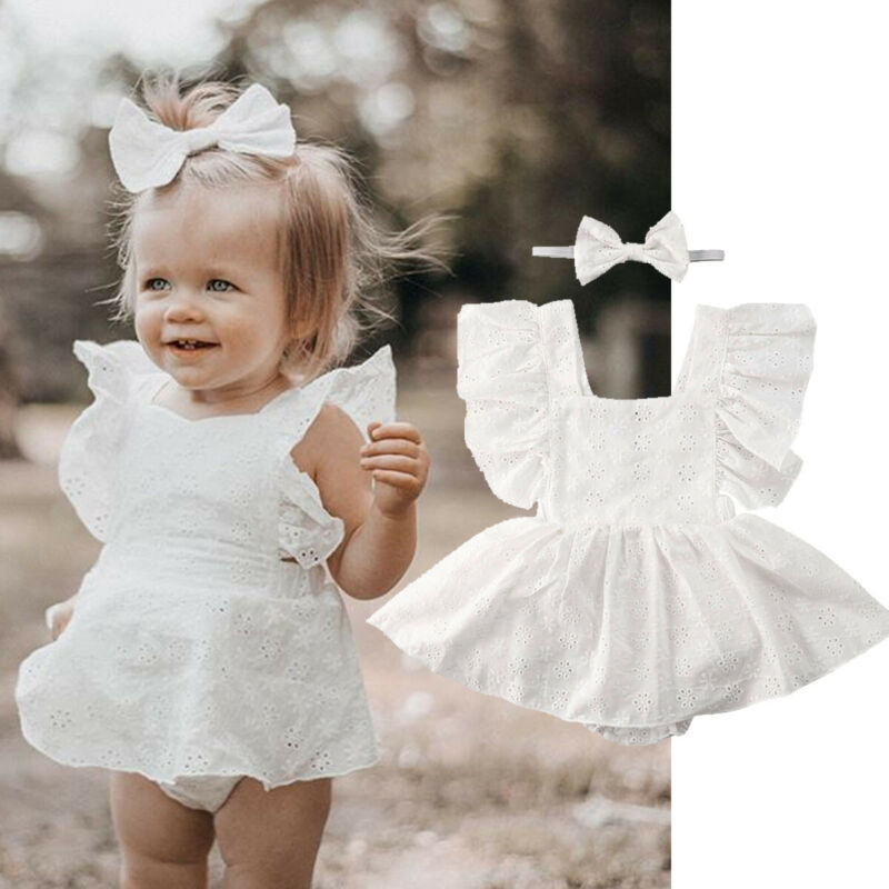 Newborn Infant Baby Girls Sleeveless Solid Lace Dress Romper Clothes Outfits Set