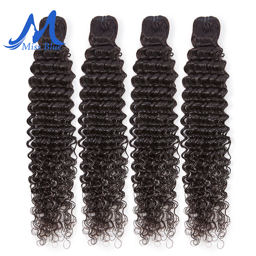Missblue Brazilian Hair Weave Bundles Curly Human Hair Weft 3/4 Bundles Remy Hair Extensions 8-30 32 38 40 Inch