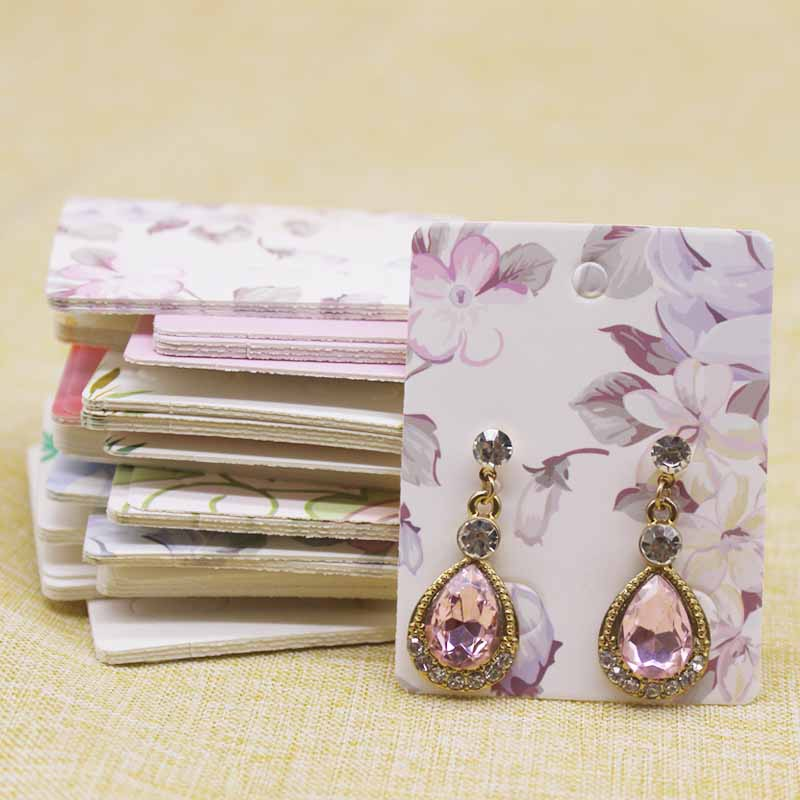 50Pcs Flower Pattern Paper Earring Package Card 5x6.5cm Marbling Fruit Style Jewelry EarringDisplay Tag Cards