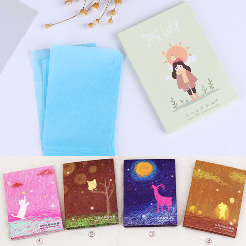 50pcs/box Makeup Tissue Papers Oil Absorbing Paper Absorb Blotting Facial Cleanser Oily Skin Oil Control Cleansing Face Paper image
