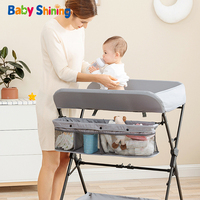 Baby Shining Baby Crib/Bed/Cot Baby Diaper Changing Table Clothes Changing Multi Function Newborn Baby Care Table Foldable Crib