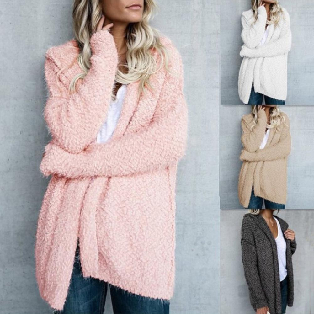 Size S-5XL Women Loose Solid Color Hooded Cardigan Long Sleeve Open Front Knitted Outwear Loose Warm Hooded Open Stitch Cardigan