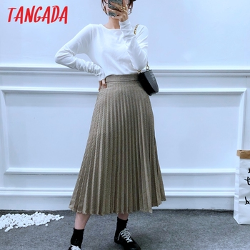 Tangada women plaid pleated midi skirt faldas mujer vintage side zipper office ladies elegant chic mid calf skirts 6A01 1